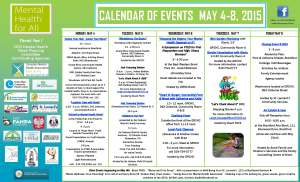 2015 Mental Health Week Calendar of Events
