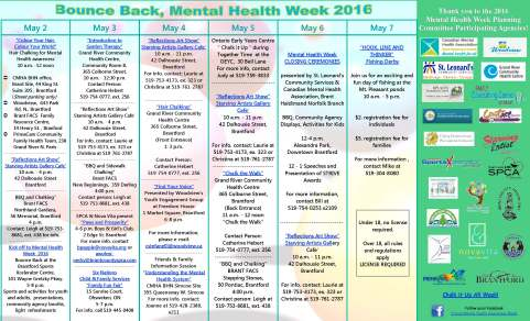 2016 Mental Health Week Calendar of Events - Final